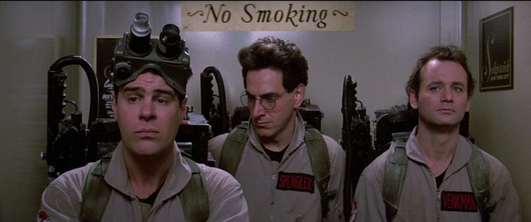 Dan Aykroyd, Harold Ramis and Bill Murray in the original Ghostbusters (1984)